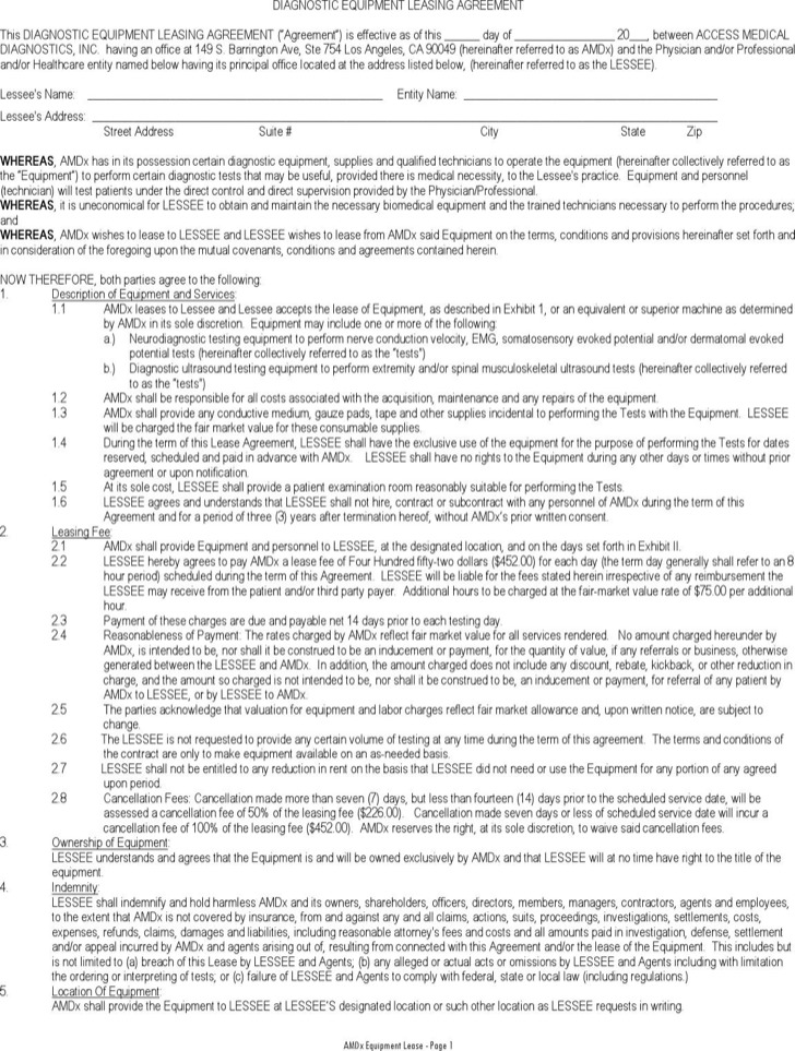 Diagnostic Equipment Leasing Agreement