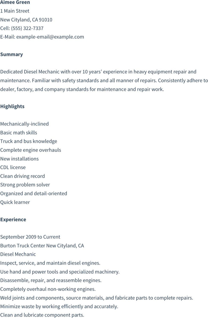 Diesel Mechanic Resume
