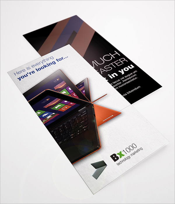 Digital Laptop Tri-Fold Brochure Design Template