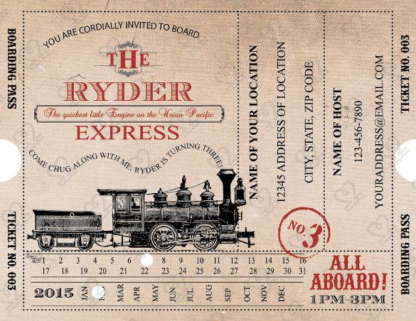 Digital Train Boarding Pass Invitation Template