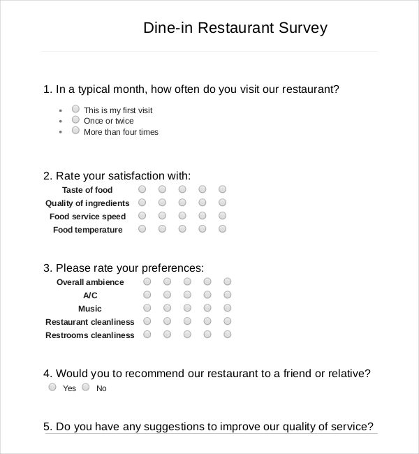Dine-in Restaurant Survey PDF Template