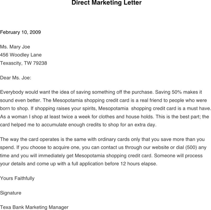 Direct Marketing Letter