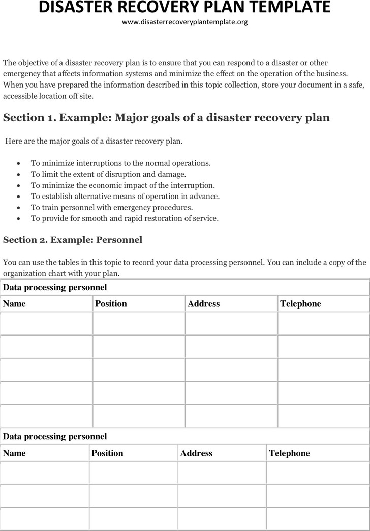 Disaster Recovery Plan Template 1
