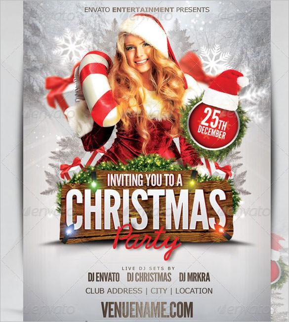Disco Christmas Flyer Template PSD Photoshop