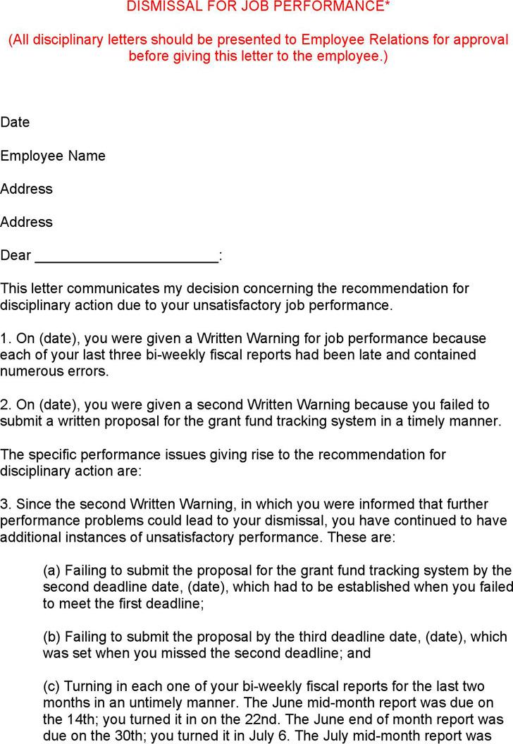 Dismissal Letter Format