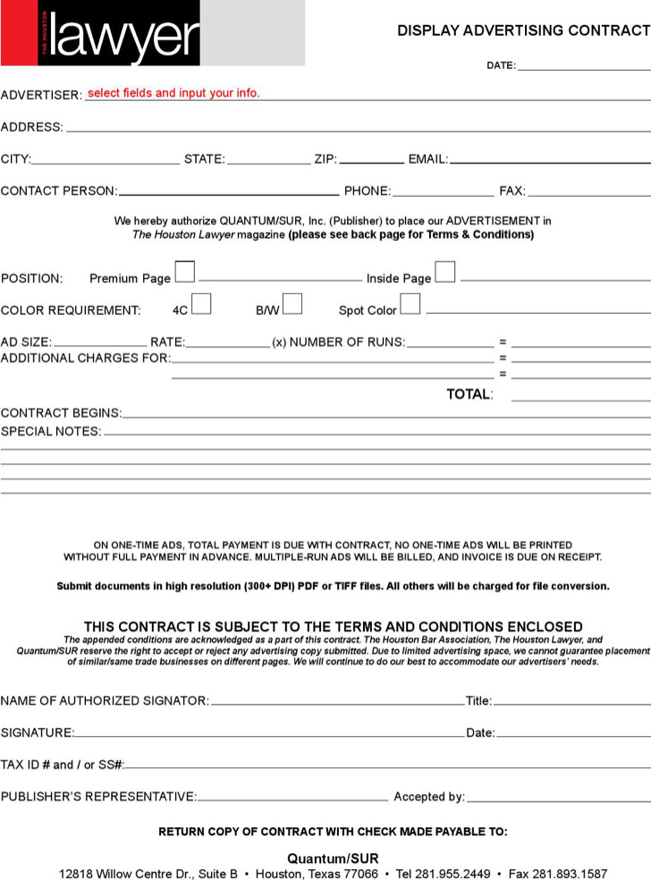 Display Advertising Contract Template