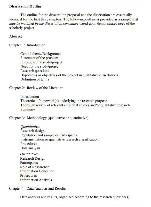 Dissertation Outline Example PDF Download