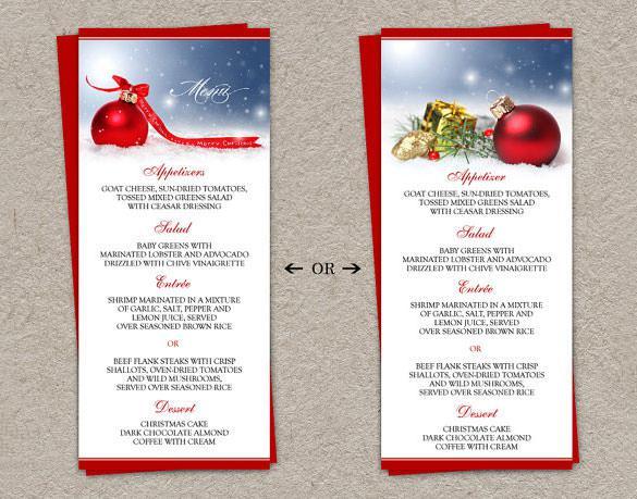 DIY Printable Holiday Dinner Chrishtmas Party Menu Template