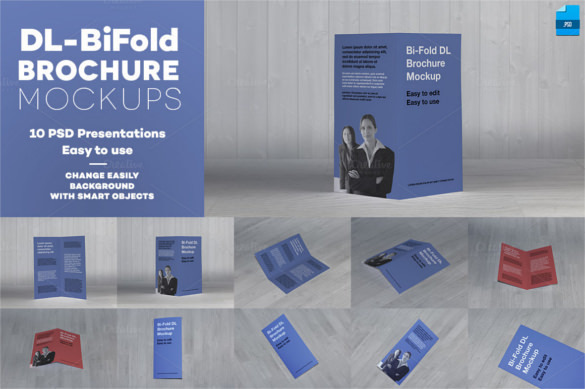 DL Bi-Fold Brochure Mockup PSD Design