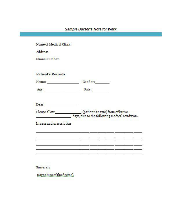 Doctor Sick Note For Employe Free Download