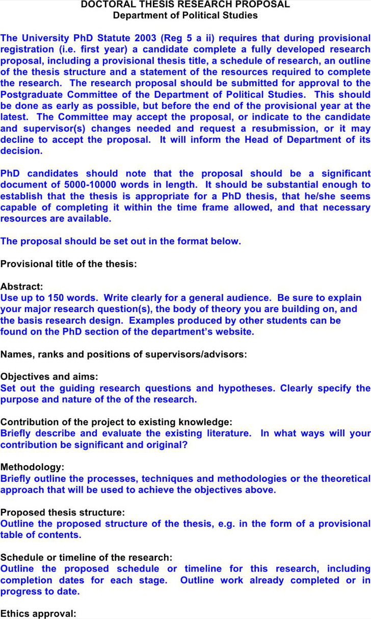 Doctoral Thesis Proposal Template