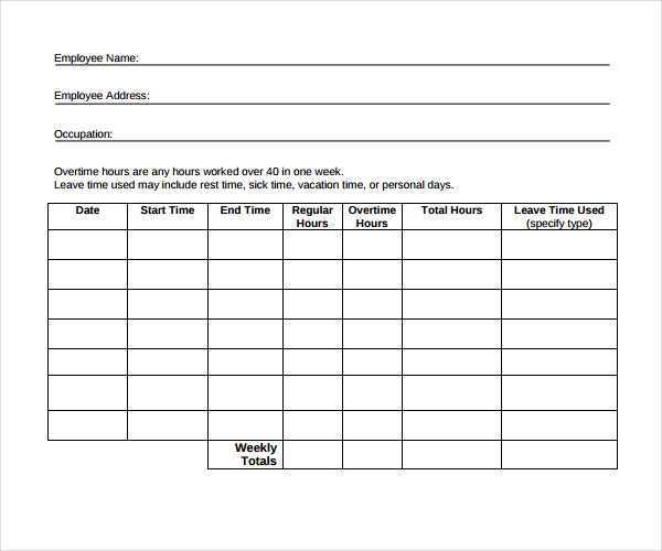 Domestic Worker Time Tracking Template Download in PDF