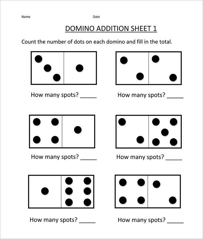 Domino Addition And Subtraction Worksheet Template