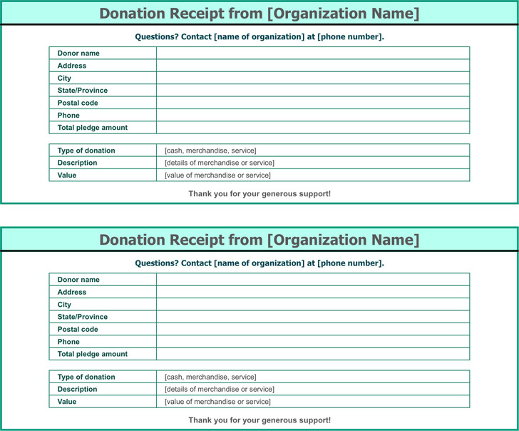 Donation Receipt Template 3