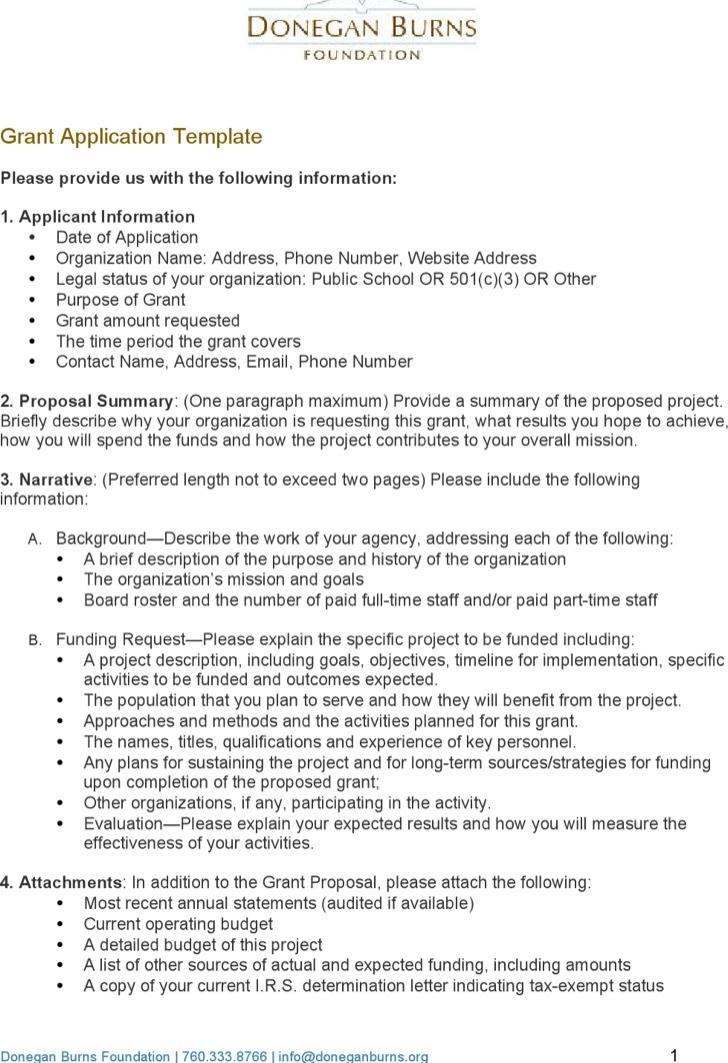 Donegan Burns Grant Application Template