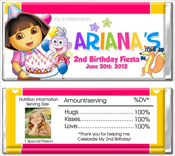 Dora Personalized Candy Bar Wrapper