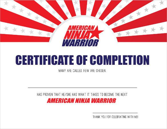Download AMERICAN NINJA WARRIOR Certificate of Completion Printable
