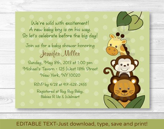 Download Animals Baby Shower Invitation Template