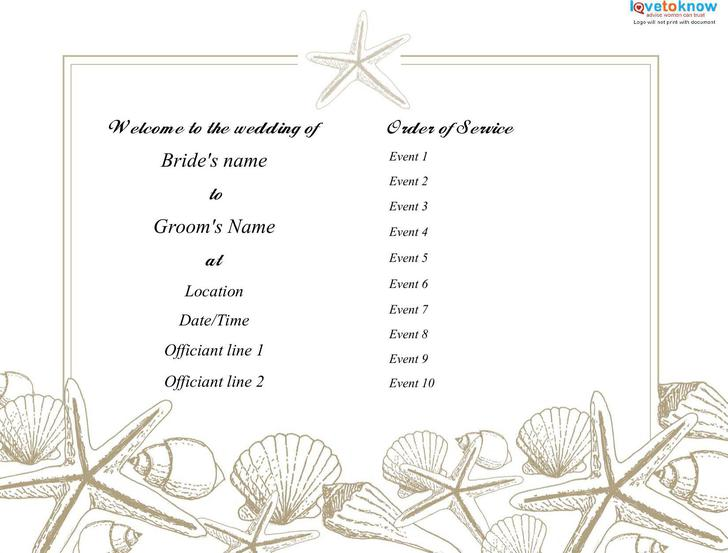 Download Beach Wedding Program Template Free PDF