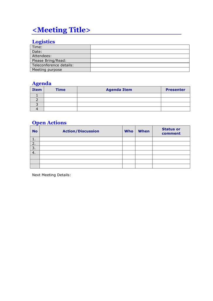 Download Blank Project Action Meeting Agenda Template