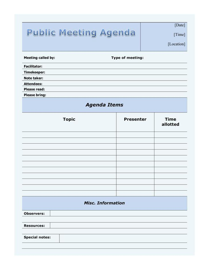 Download Blank Public Meeting Agenda Template for Free