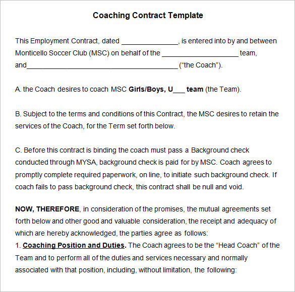 Download Coaching Contract Template Word