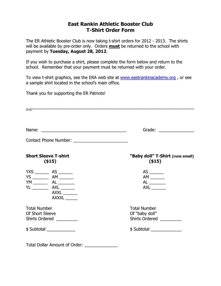 Download East Rankin Athletic Booster Club T-Shirt Order Form