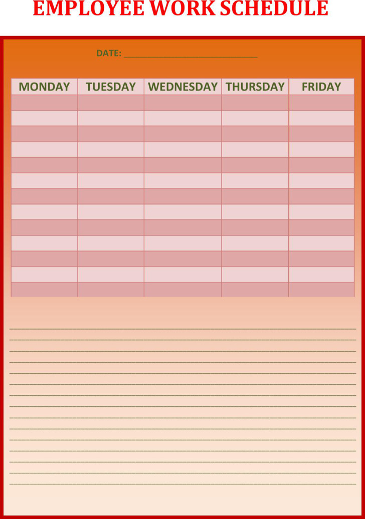 3 weekly work schedule templates free download