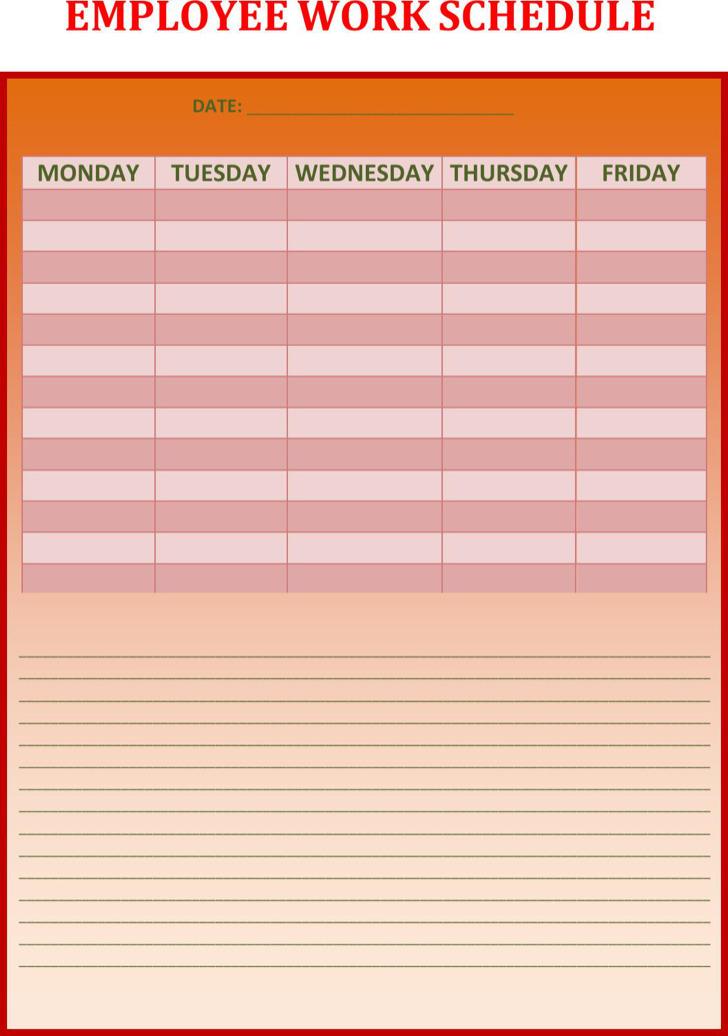 Download Employee Work Schedule In Ms Word