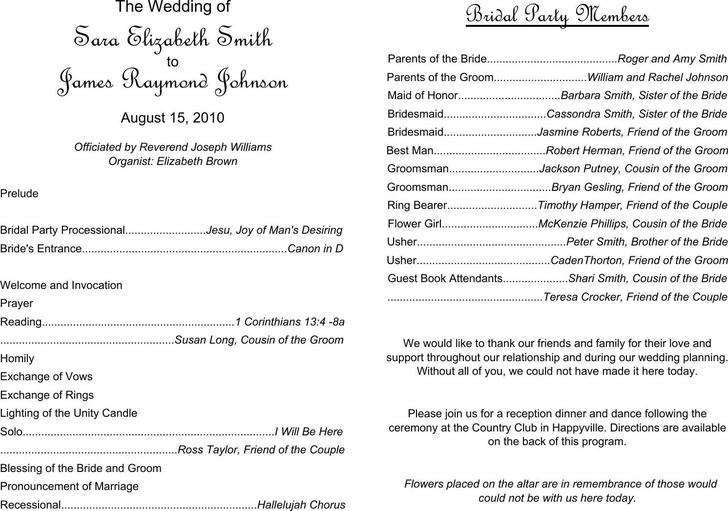 Download Free Wedding Program Template Editable PDF