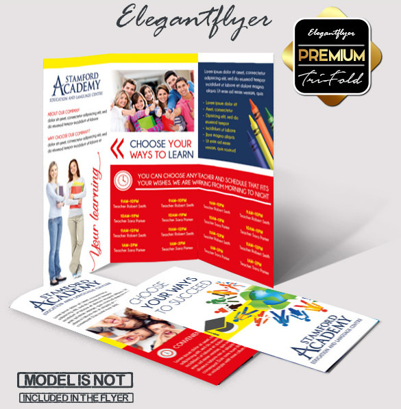 Download Languages Course - Free Tri-Fold PSD Brochure Template