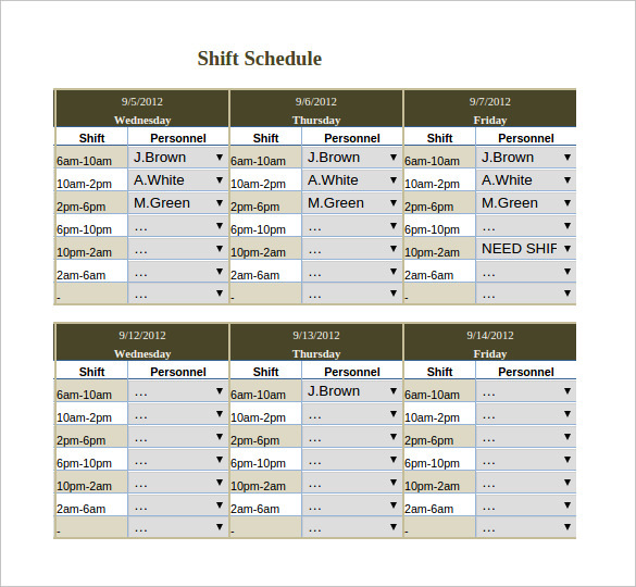 Download Monthly Shift Work Schedule Template