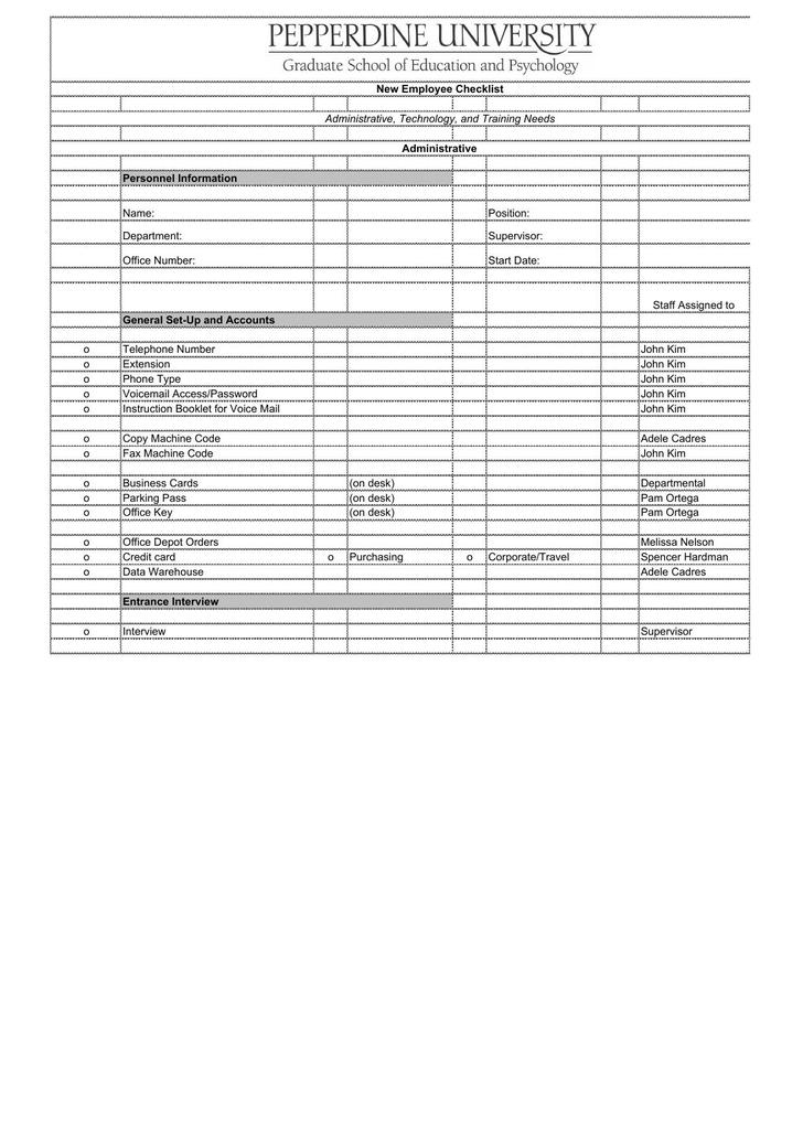 Download New Employee Checklist Excel Format Template