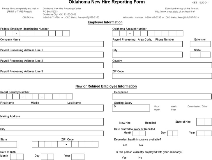 Download New Hire Reporting Form