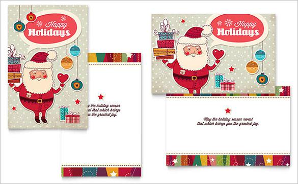 Download Retro Santa Greeting Card Template
