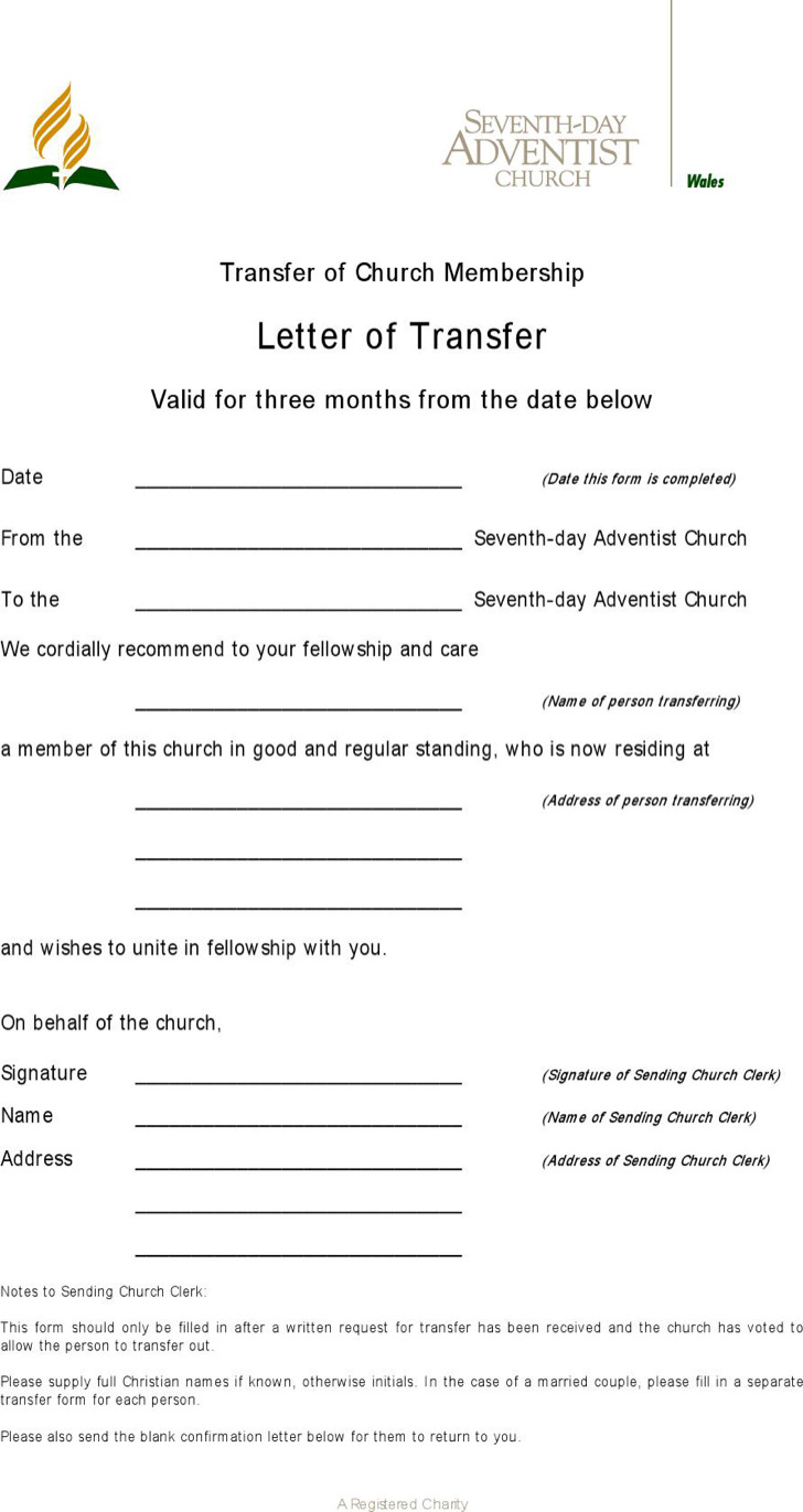 Download Sample Transfer Letter Of Church Membership