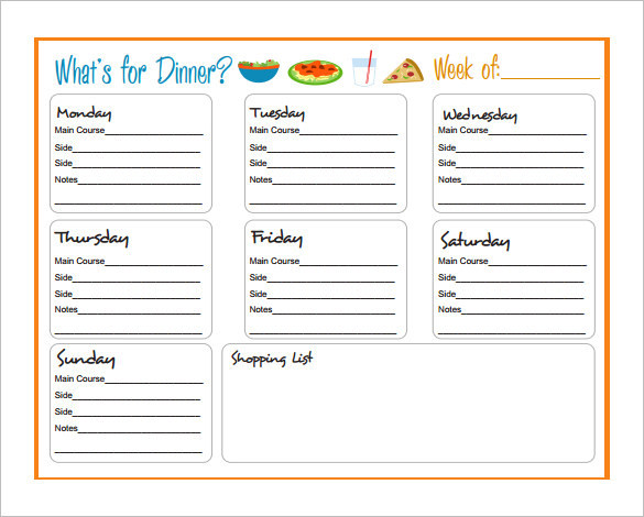 Download Special Dinner Schedule Template PDF
