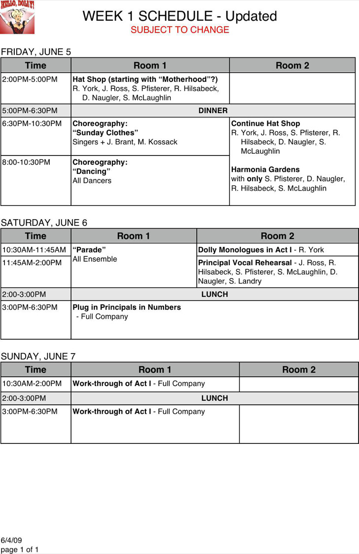 Download Weekly Rehearsal Schedule Template Word Format