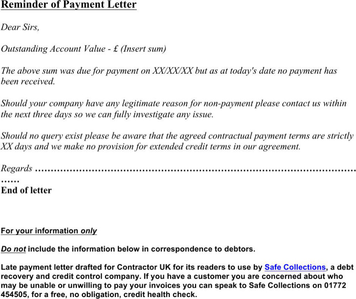 Due Payment Reminder Letter