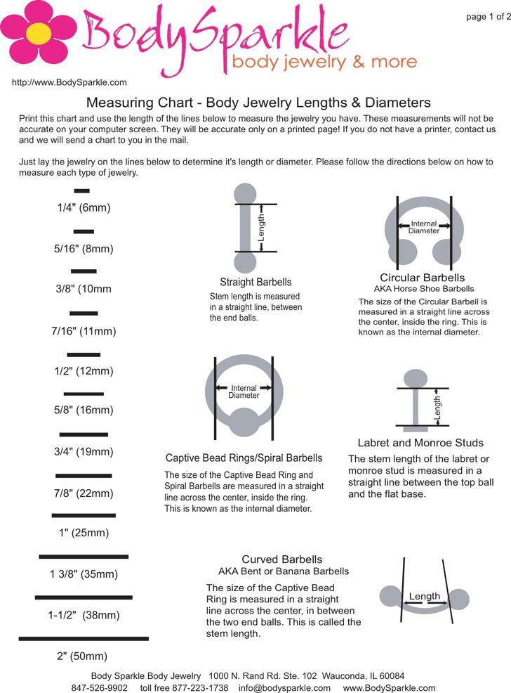Ear Gauge Chart