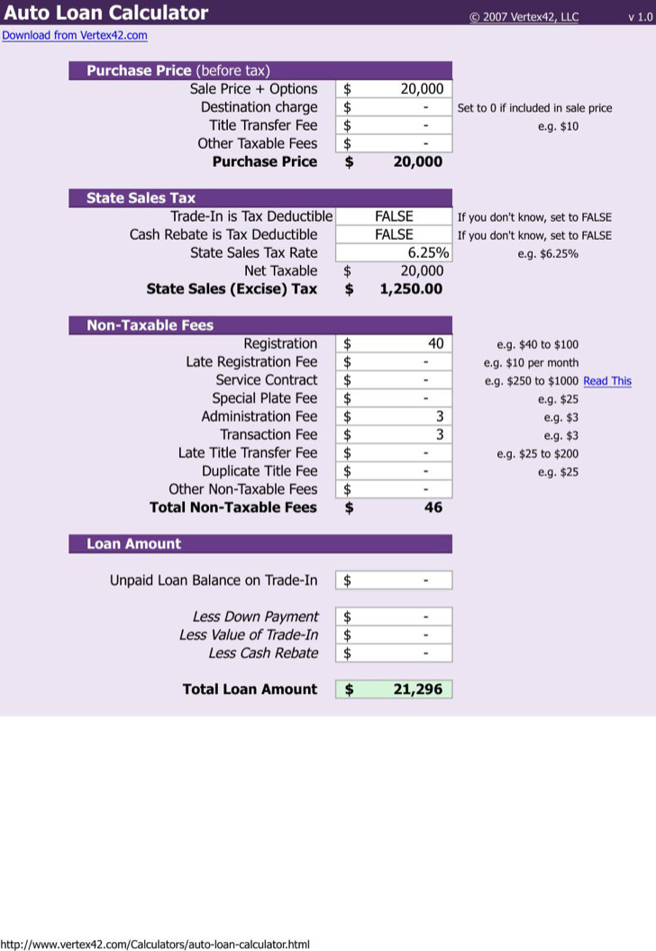 Editable Auto Loan Payoff Calculator Schedule Template