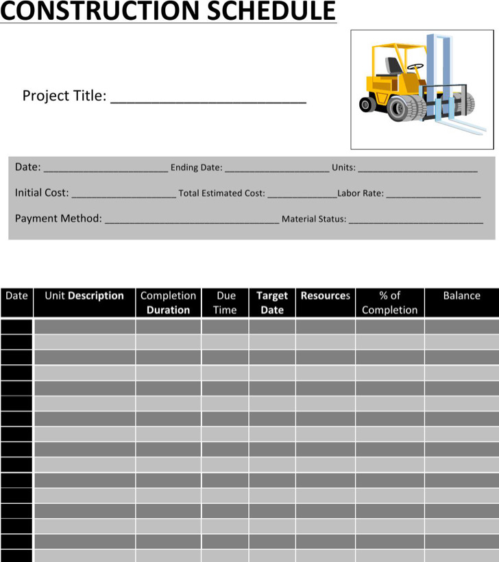 Editable Construction Activity Schedule Template Word Doc