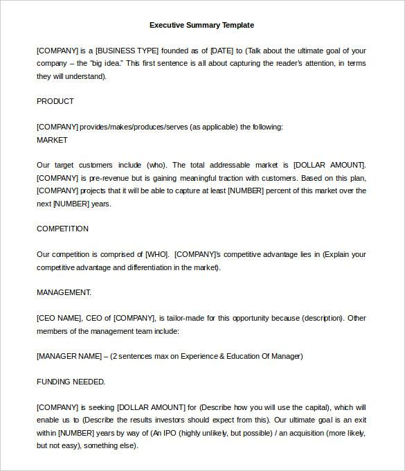Editable Executive Summary Template Word Doc Download
