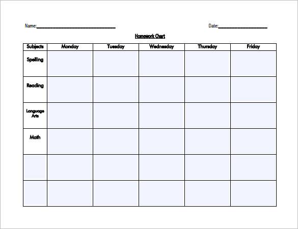 Editable Homework Schedule Template for Kids PDF
