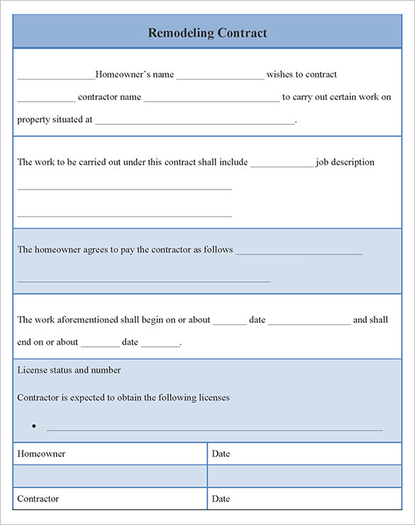 Editable Remodeling Contract Template Download
