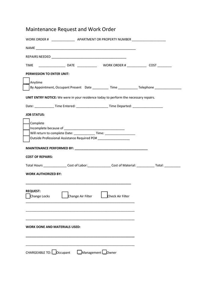 Editable Repair Work Order Template PDF Format