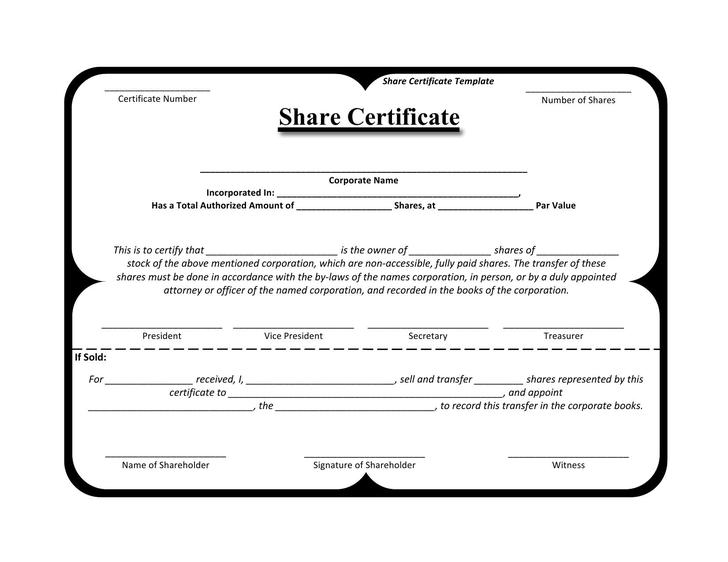Editable Stock Certificate Template Word Format free Download