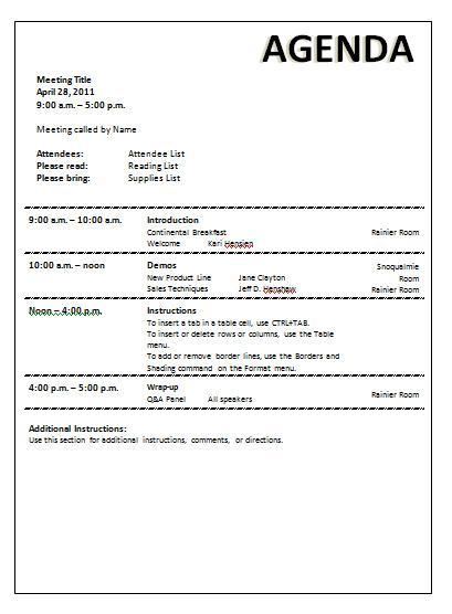 Download Effective Board Meeting Agenda Template Word Doc Download