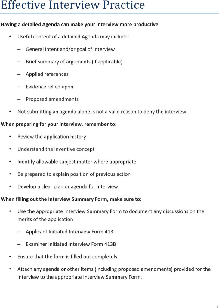 Effective Interview Practice Agenda Template