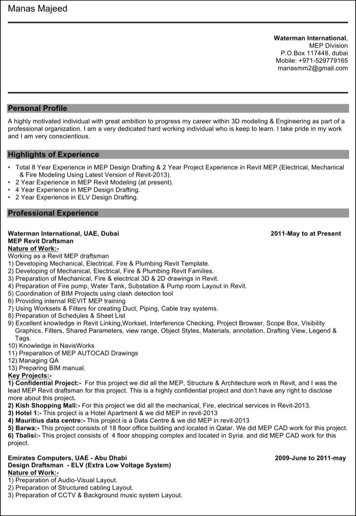 Electrical Drafter Resume